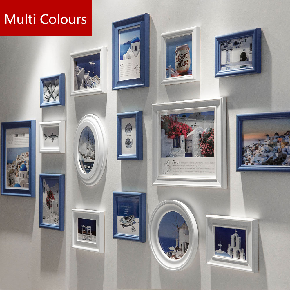 16 Pcs Multi Colour Wooden Photo Frames For Wall