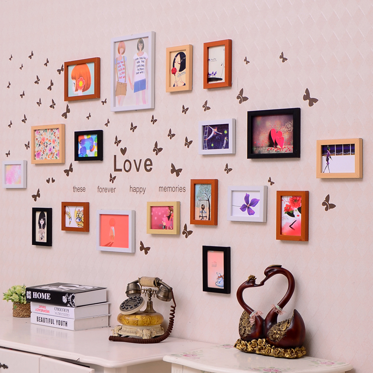 18 pcs Wooden Photo Frame Wall Decor - American Wall Decor