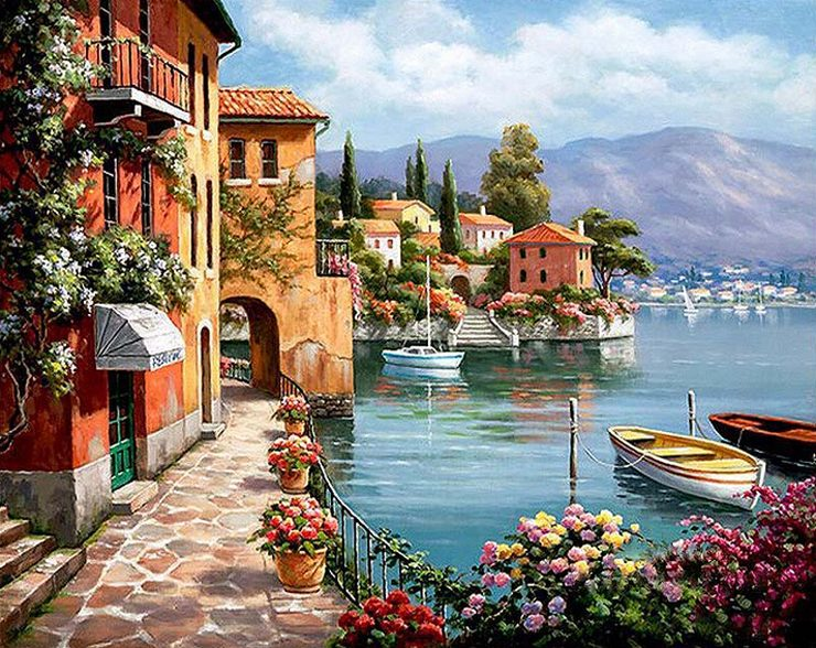 Riverside Color by numbers canvas wall art